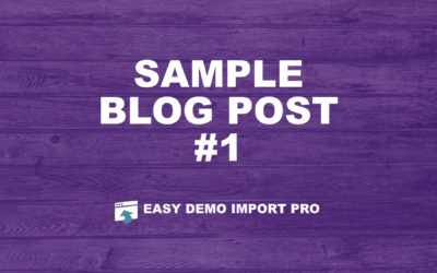 Sample Blog Post #1